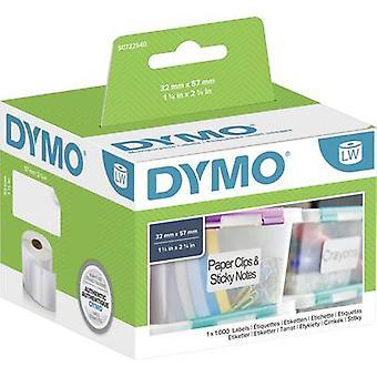 DYMO Label roll 11354 S0722540 57 x 32 mm paperi valkoinen 1000 kpl (t) pysyviä yleismerkkejä
