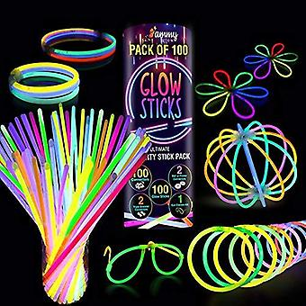100 Premium glow sticks party pack 8 inch met connectoren om neon armbanden, kettingen, oogglas te maken