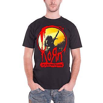 Korn T Shirt Stage Live at Hollywood Band Logo Official Mens New Black