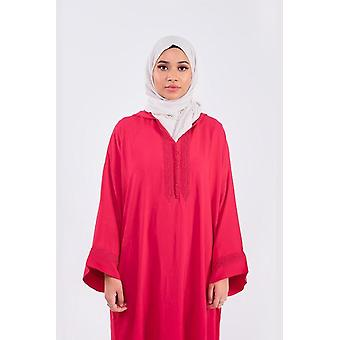 Djellaba rehab long sleeve hooded long maxi dress kaftan abaya in raspberry