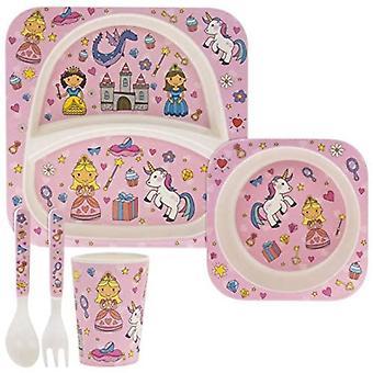 5 Piece Kiddies Bamboo Äta Set Fairytale Design av Mindre & Pavey