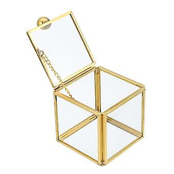 مربع الزجاج المجوهرات مربع خمر الزفاف تفضل الهندسية خاتم قرط واضح