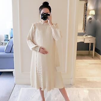 Maternity Dresses Chiffon Pleated Long Pregnancy Dress For Pregnant Women