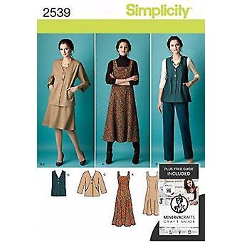 Yksinkertaisuus ompelu kuvio 2539 Misses Mekko Takki Housut Koko BB 20W-28W