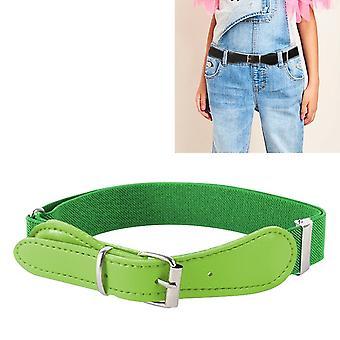 2 PCS الأطفال البوليستر + PU الجلود مربع دبوس مشبك حزام مرن قابل للتعديل، طول: 65cm (الأخضر)
