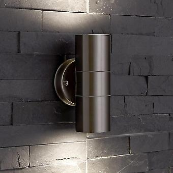 Stainless Steel Silver Curved Outdoor Up Down Wall Light IP54 Garden Porch Door