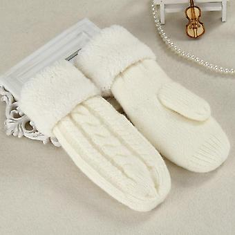 Women Fashion Knit Twist Flowers Mittens