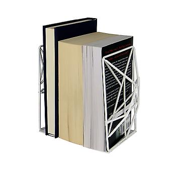 Heavy Duty Non-Slip Geometric Bookends Suitable for Books, DVDs and CDs   M&W White