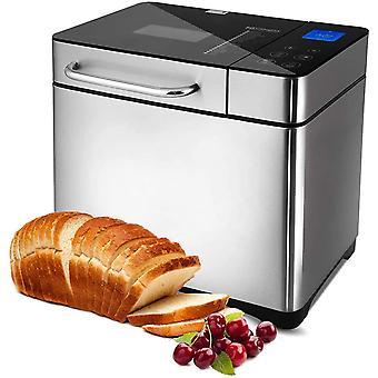 Brotbackautomat 710W Backmeister mit Automatisch Zutatenbox, 19 Programm, Edelstahl Brotmacher