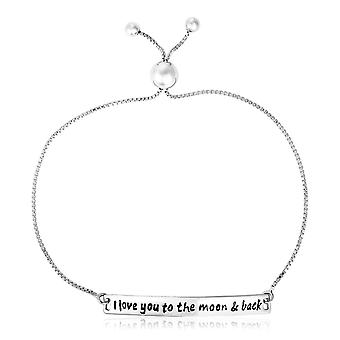 Sterling Silver Adjustable I Love You to the Moon and Back Bracelet