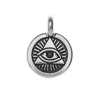 TierraCast Pewter Charm, Providence-symbolin pyöreä silmä 16,5x11,5mm, 1 kpl, antiikkinen hopeapinnoitettu