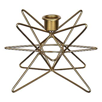 Shiny Gold 3D Wire Star Taper Candle Holder