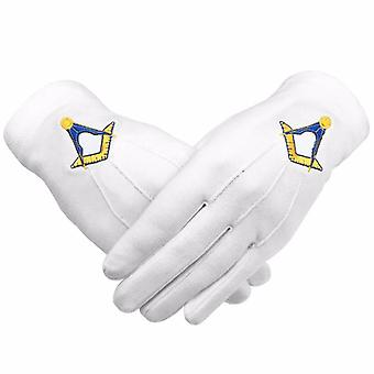 Masonic cotton gloves machine embroidery yellow square and compass
