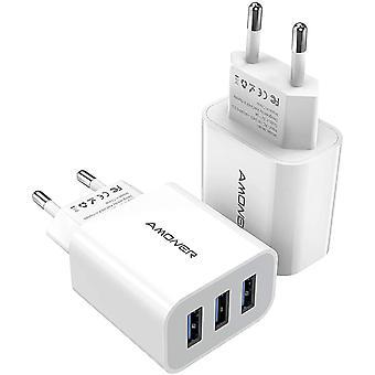 FengChun USB Ladegerät USB Stecker 15W Ladestation Ladeadapter -2 Stücke 3 Port 15W Netzteile für