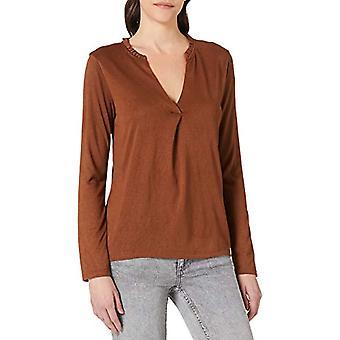 Springfield Camiseta Cuello Minivolantes T-Shirt, Dark Brown, XS Woman