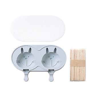 Cartoon Double rabbit Ice Cream Silicone Mold DIY Handmade Creative Popsicle(20.5*13.2*3.4cm,Blue)