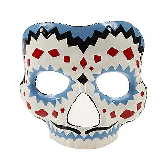 Day Of The Dead Blue Mexican Skull Men Costume Male Half Mask