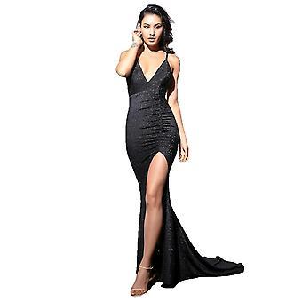 Sexy Negro Profundo Cuello en V Cut Out Bodycon Shiny Elastic Fabric Maxi Vestido Femenino
