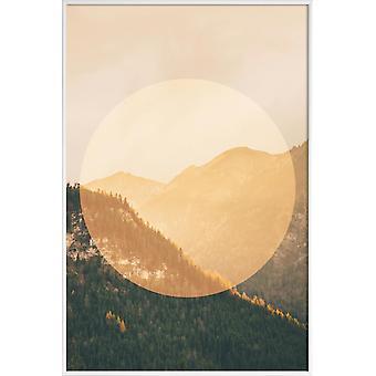 JUNIQE Print - Landskap Cirkulära 2 Alperna - Berg Affisch i Brunt & Cream White