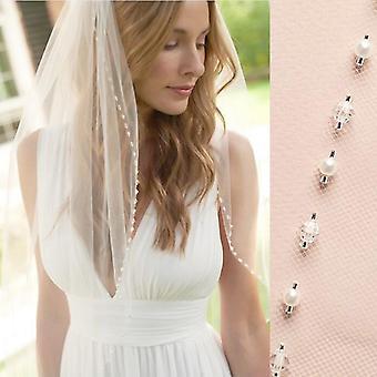 Fingertip Wedding Veils, Crystal Pearls Cut Edge Bridal Veil