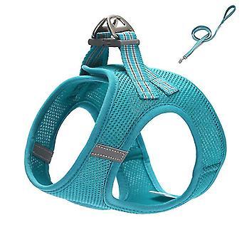 Blue xs câine ham reglabil plasă câine vesta ham cu lesa set lesa pentru animale de companie pentru animale de companie mici cai249