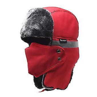 Červená bluetooth zimná trapper ushanka vetruodolný klobúk beanie ruské klobúky pre mužov a ženy outdoorové lyžovanie šport x3395
