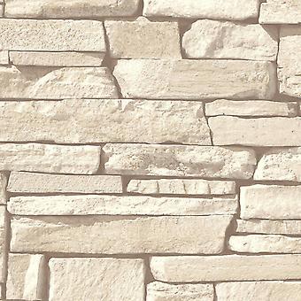 Cream Brick Effect Wallpaper