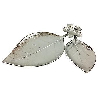 Metallblad og blomsterbrett ornament 31cm