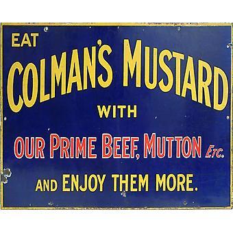 Vintage Metalli merkki Retro Advertising Colmans sinappi