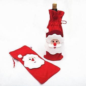 Red 15*8cm santa claus wine bottle cover christmas wine bottle cover homi3786