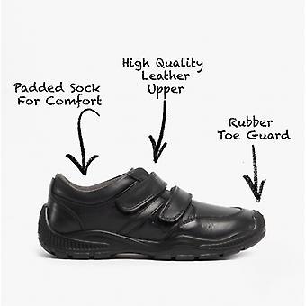 Roamers Jerome pojkar läder touch fästa utbildare svart