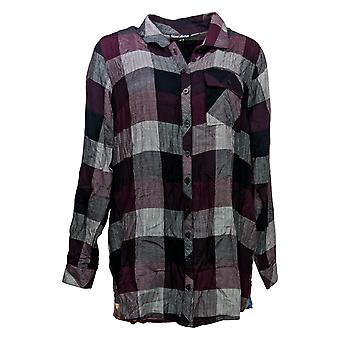 Tolani Collection Women's Top Regular Plaid Tunic Print Back Red A383438