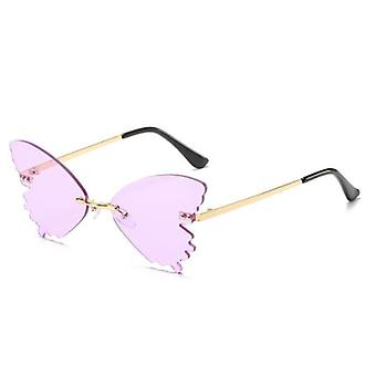Women''s Rimless Butterfly-shapes Sunglasses