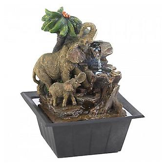 Cascading Fountains Elephants and Palm Tree Scene Tabletop Water Fountain, Pack of 1