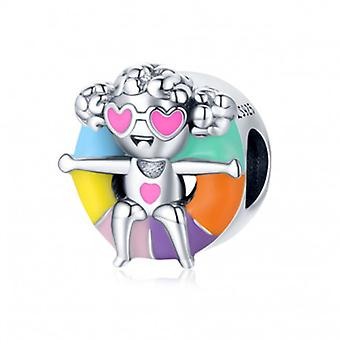 Sterling Silver Charm Floating Girl - 7173