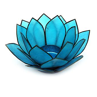 Turquoise Blue Capiz Shell Lotus Flower Small Tealight Candle Holder