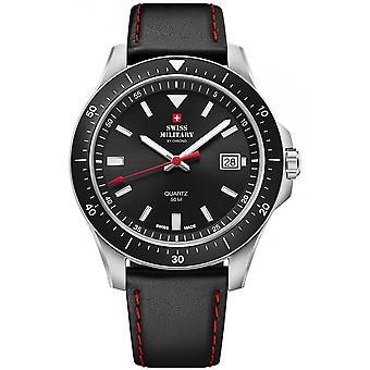 Reloj Suizo Militar By Chrono Black Genuine Leather SM34082.04 Hombre