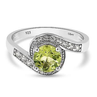 TJC Peridot, Weißer Zirkon Bypass Ring 925 Sterling Silber Versprechen Geschenk 5.62ct (M)