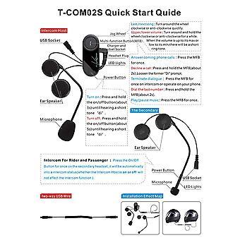 T-com02s Bluetooth Helmet Intercom Waterproof Hand Free Headphone Interphone