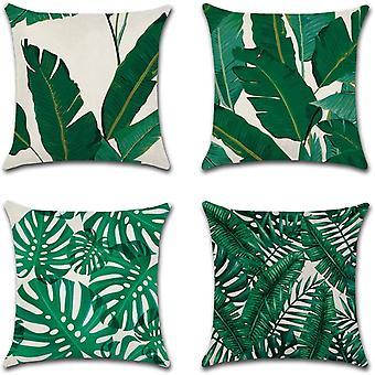 Vihreä lehtityyny kattaa koristeellisen heittotyynykotelon Sohva auton tyynyliina 45 x 45cm 4 Kpl