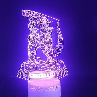 ديناصور غودزيلا 3d أدى ليلة ضوء غرفة نوم مصباح مصباح اللون المتغيرة