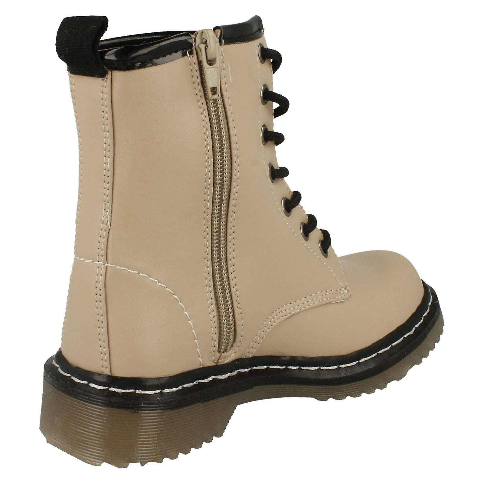 Girls Spot On Chunky Sole Lace Up Ankle Boots