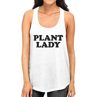 Plant Lady Womens White Leather mouwloos Shirt eenvoudig ontwerp