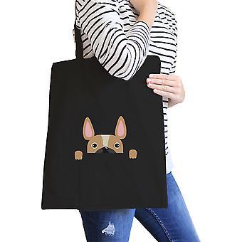 Französische Bulldogge Peek A Boo schwarz Canvas Tasche Geschenk für Hundeliebhaber