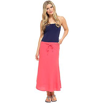 Tom Franks Womens Bias Cut Easy Care Linen Summer Flared Maxi Skirt - Coral - 10
