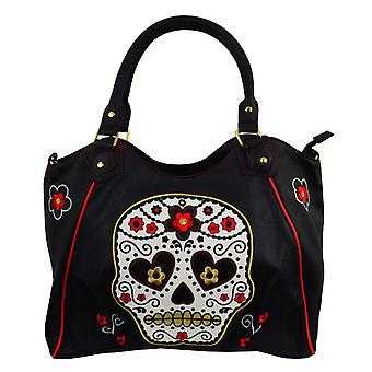 Banned White Sugar Skull Handbag Bag