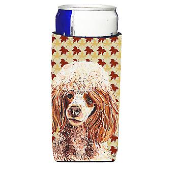 Red Miniature Poodle Fall Leaves Ultra Beverage Insulators for slim cans