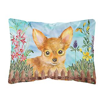 Toy Terrier Spring Canvas Fabric Decorative Pillow