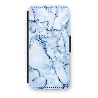 iPhone 5/5 s/SE Flip Case - blau Marmor