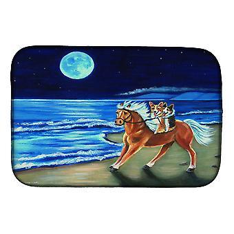 Carolines Treasures  7318DDM Corgi Beach Ride on Horse Dish Drying Mat